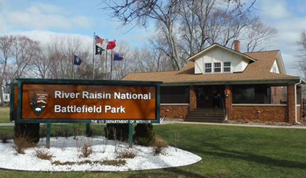 River Raisin National Battlefield Park Sign